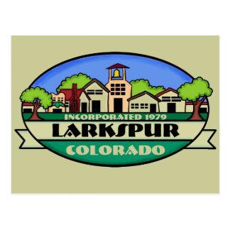 Cartão da cidade pequena de Larkspur Colorado