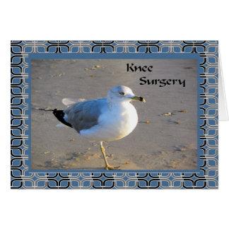 Cartão da cirurgia do joelho com gaivota de mar