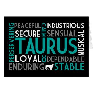 Cartão da colagem da palavra do Taurus