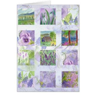 Cartão da colagem da pintura da flor da aguarela