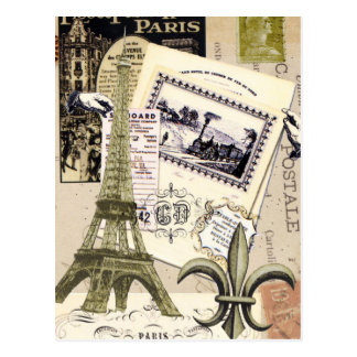 Cartão da colagem de Paris do vintage…