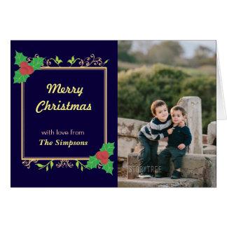 Cartão da coleção do feriado das bagas do azevinho