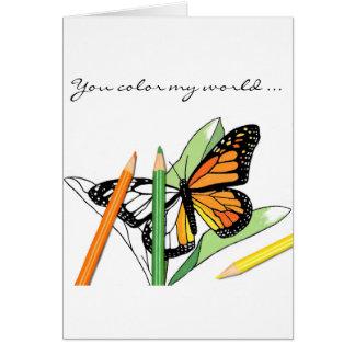 Cartão da coloração da borboleta do dia dos
