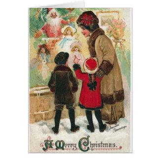 Cartão da compra da janela do Natal do Victorian