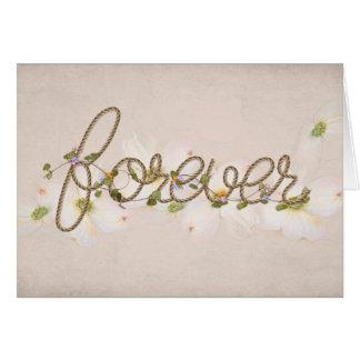 Cartão da corda do design texto para sempre para wedding
