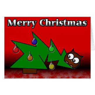 Cartão da coruja da árvore de Natal