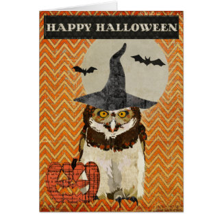 Cartão da coruja do Dia das Bruxas