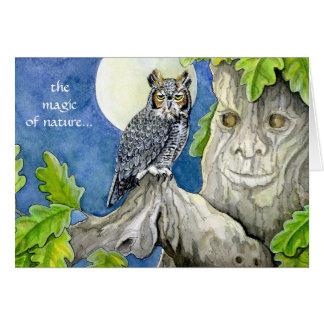 Cartão da coruja e do carvalho