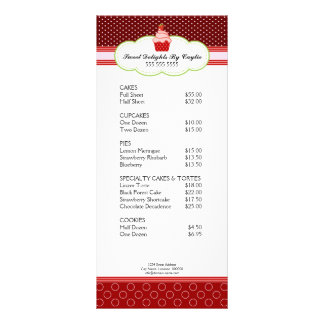 Cartão da cremalheira da padaria do cupcake da mor