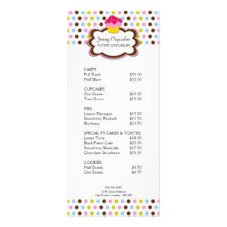 Cartão da cremalheira da padaria do cupcake 10.16 x 22.86cm panfleto