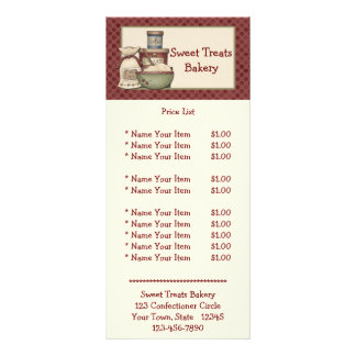 Cartão da cremalheira da padaria do país 10.16 x 22.86cm panfleto