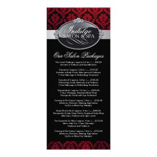 Cartão da cremalheira da tabela de preços do salão 10.16 x 22.86cm panfleto