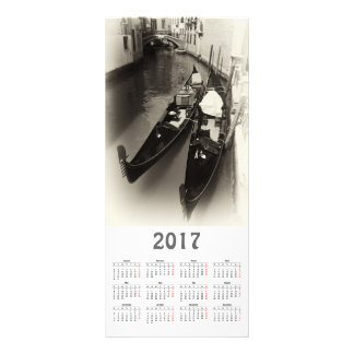 cartão da cremalheira do calendário de Veneza 2017 10.16 X 22.86cm Panfleto