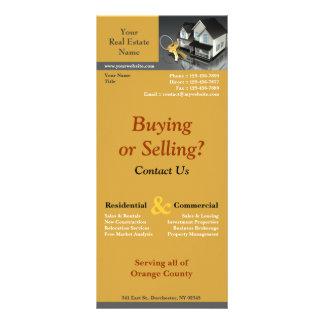 Cartão da cremalheira dos bens imobiliários panfleto informativo personalizado