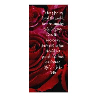 Cartão da cremalheira dos rosas do 3:16 de John