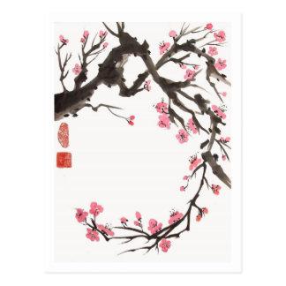 Cartão da curva da flor da ameixa