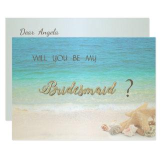Cartão da dama de honra dos Seashells do casamento