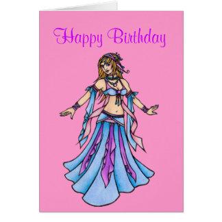 Cartão da dança do ventre do feliz aniversario