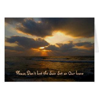 Cartão da desculpa do por do sol