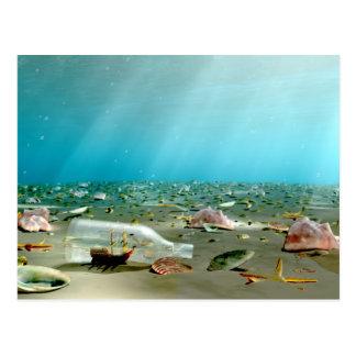 Cartão da destruição da Navio-em-um-Garrafa