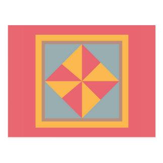 Cartão da edredão - Pinwheel (ouro/salmões)