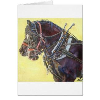 Cartão da equipe do cavalo de esboço de Percheron