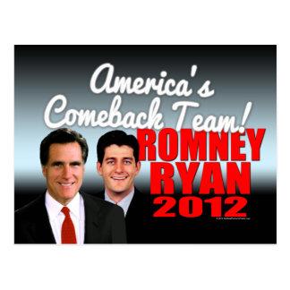 Cartão da equipe do retorno de América, Romney