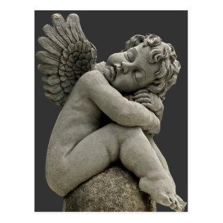Cartão da escultura do anjo do querubim do sono cartões postais