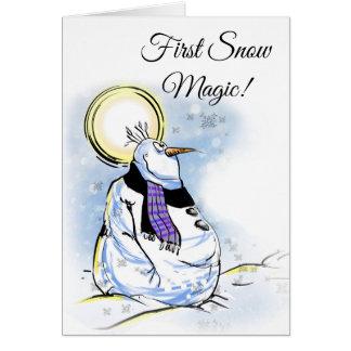 Cartão da estação do boneco de neve