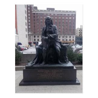 Cartão da estátua de Benjamin Franklin