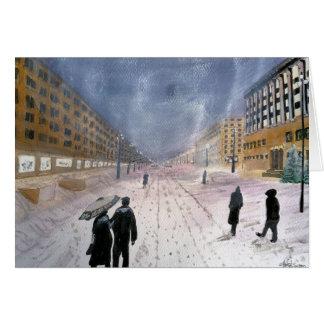 Cartão da Europa Oriental do inverno