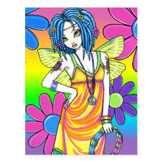 Cartão da fada da criança de flor do arco-íris da