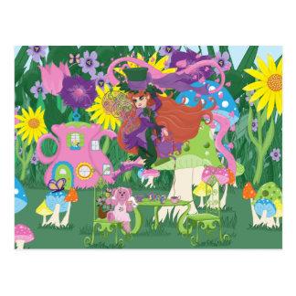 Cartão da fada da flor e do tea party do urso do