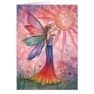 Cartão da fada da luz do sol e do arco-íris
