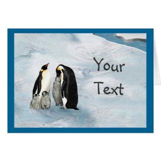 Cartão da família do pinguim