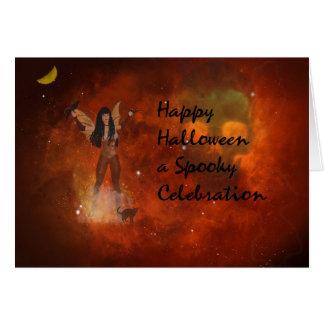 Cartão da fantasia do Dia das Bruxas com céu &