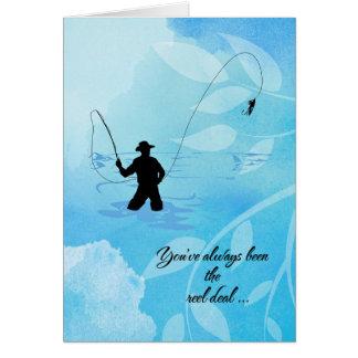 """Cartão Da """"feliz aniversario do pescador mosca"""""""