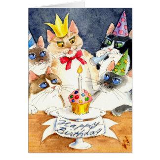 Cartão da festa de aniversário do gato