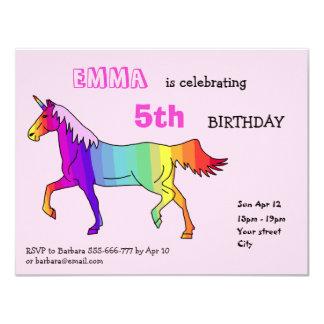 Cartão da festa de aniversário do unicórnio do