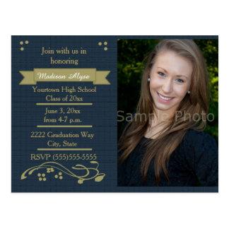 Cartão da festa de formatura da foto do azul e do