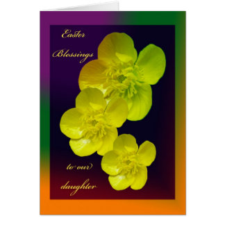 Cartão da filha das bênçãos da páscoa do botão de