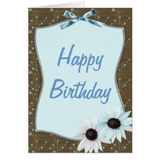 Cartão da fita azul & do feliz aniversario das
