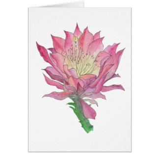 Cartão da flor do cacto da aguarela