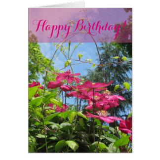 Cartão da flor do feliz aniversario