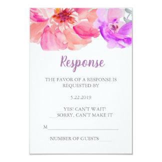 Cartão da flor RSVP da aguarela