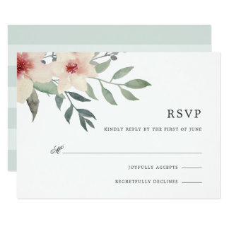 Cartão da flor RSVP do pêssego