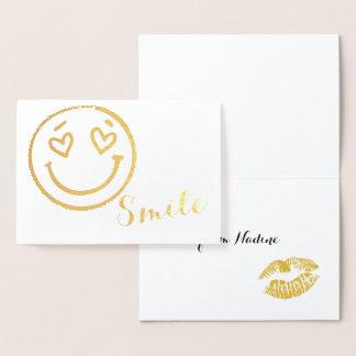 Cartão da folha de ouro de Emoji do sorriso