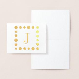 Cartão da folha do monograma e das bolinhas