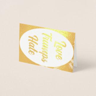 Cartão da folha do ódio dos trunfos do amor