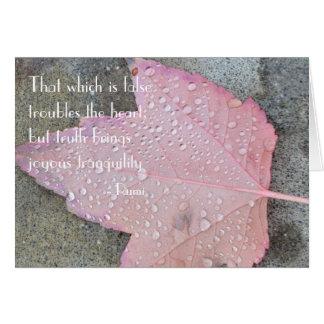 Cartão da folha do outono das citações de Rumi